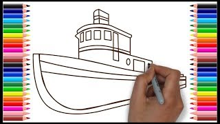 How to draw houseboat for kids (Very Easy)