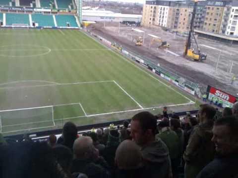 Celtic fans locked in at Easter Road (04/04/10)