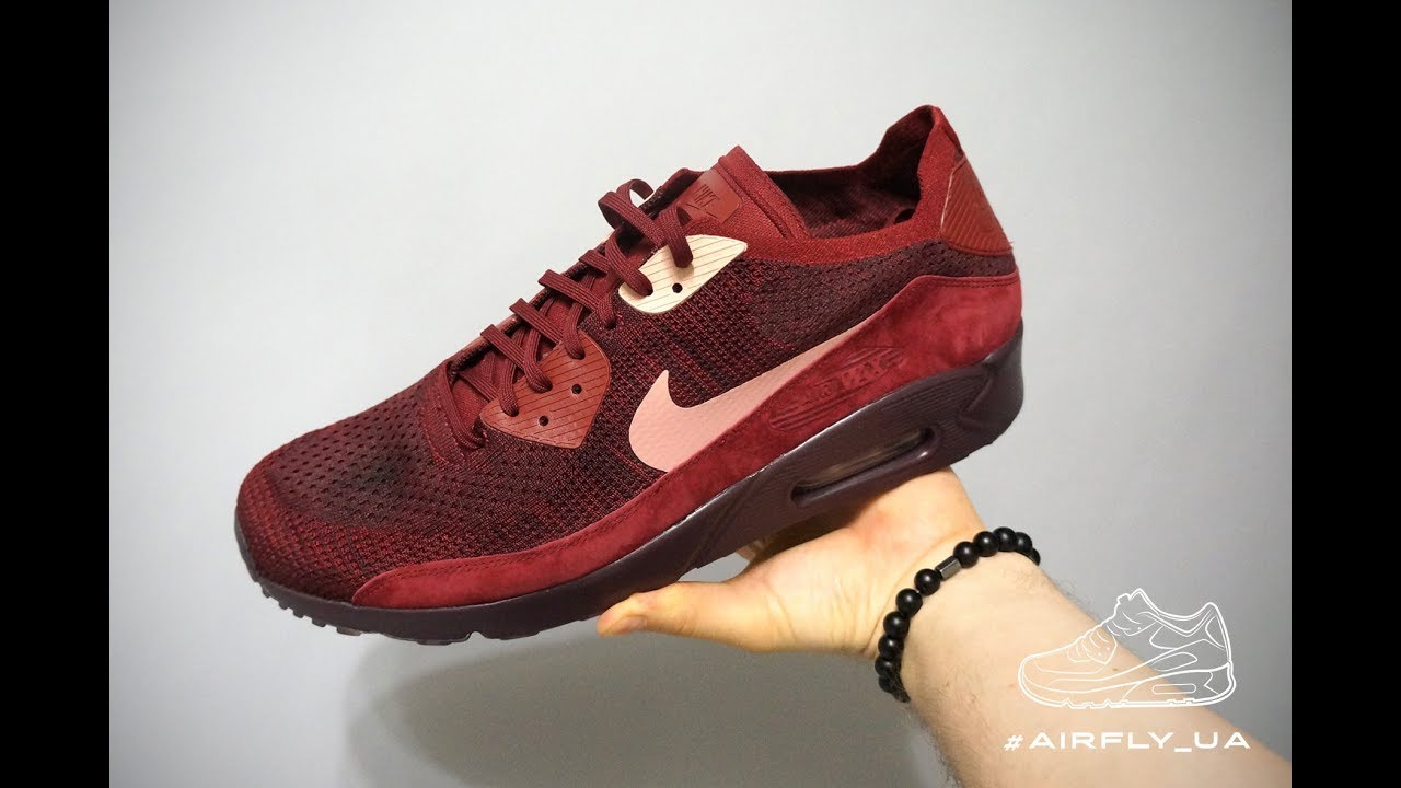 hot sale online 8bd48 36e45 Nike Air Max 90 Ultra 2.0 Flyknit 875943-601 Red Burgundy