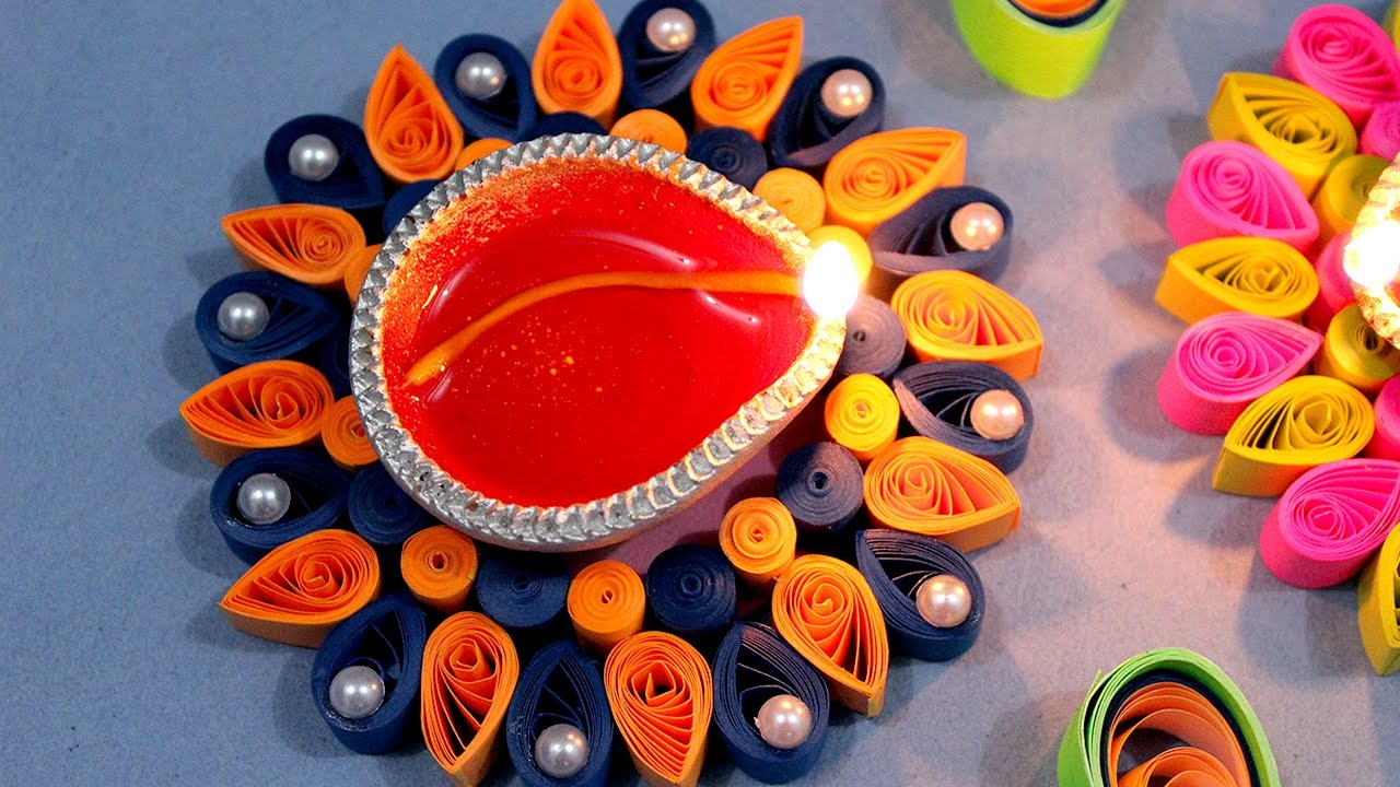 Paper quilling craft tutorial 6 diwali special diya for Diya decoration youtube