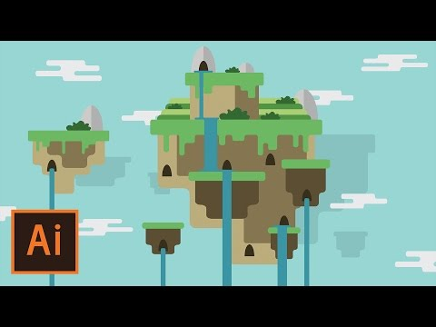 Illustrator Tutorial - Floating Island Landscape #2 (Illustrator Flat Design for Beginners)