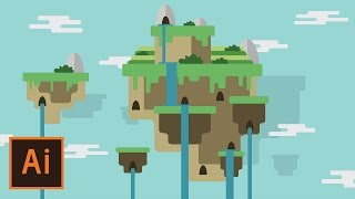Illustrator Tutorial - Floating Island Landscape #2 (Illustrator Flat Design for Beginners)