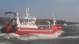 Sarah David S411 - Fishing trawler leaving Ardglass in Stormy Irish Sea