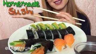 ASMR Homemade Sushi (whispering) | Eating Show | EatWithJas91