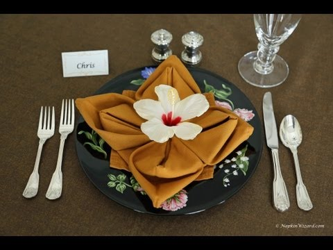 Napkin Folding Flower In Bloom Youtube