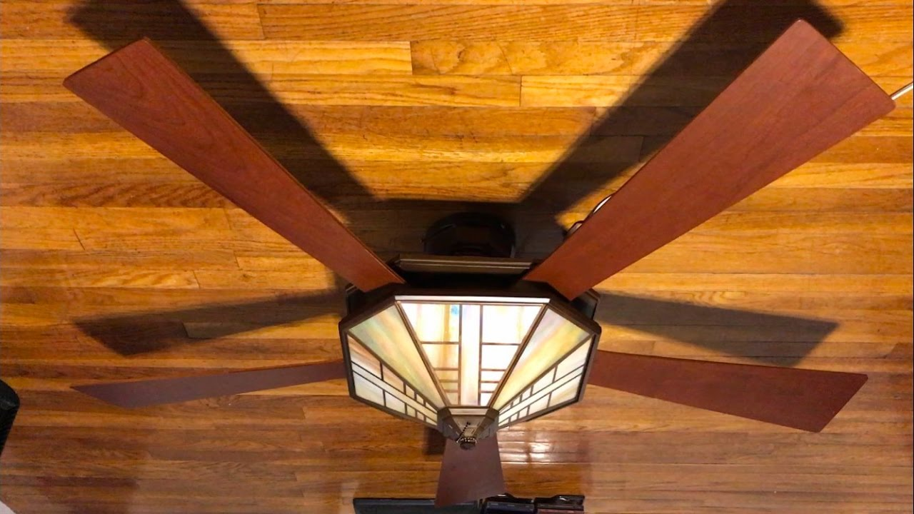 "hunter 1912 mission ceiling fan 54"" (cherry blades) - youtube"