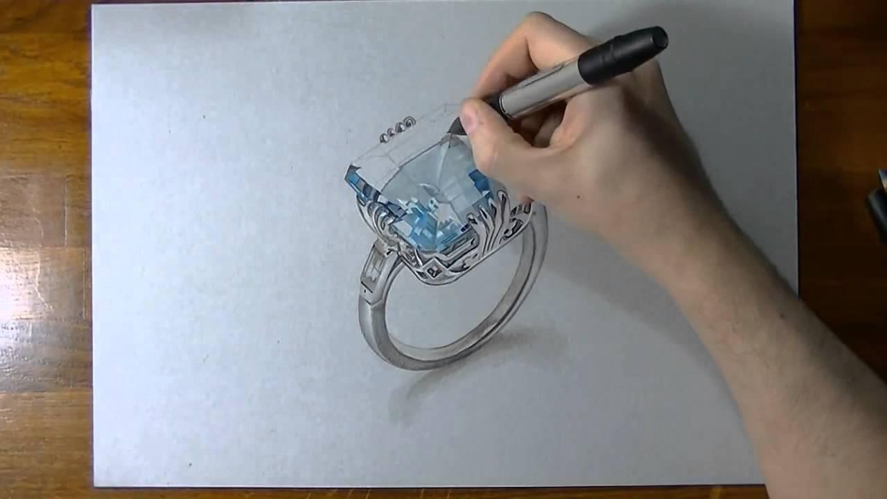 come disegnare un anello di acquamarina youtube