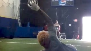 Odell Beckham Jr. Making One Handed Catch Lying Down