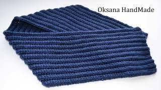 Мужской шарф крючком. Мастер класс. Men's scarf crochet