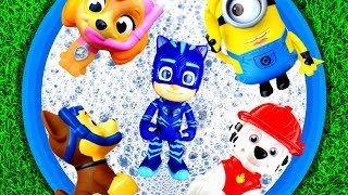 Learn Colors with Toy Story, Paw Patrol, Pj Masks and Ladybug Cat Noir for Kids in Pool