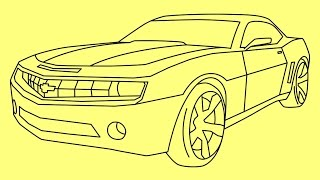 How to draw Chevrolet Camaro Transformers Bumblebee - Как нарисовать машину Бамблби(How to draw a car Chevrolet Camaro Transformers Bumblebee Vehicle Mode - Как нарисовать машину Бамблби Шевроле Камаро - Wie man ein Auto ..., 2015-03-19T02:21:43.000Z)