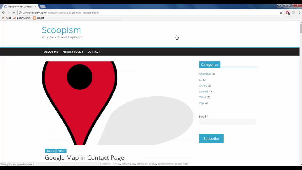Integrate Google Map in Contact Page - Scoopism