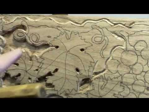 Carving A Grape Design On A Mantel. Part 1 of 2