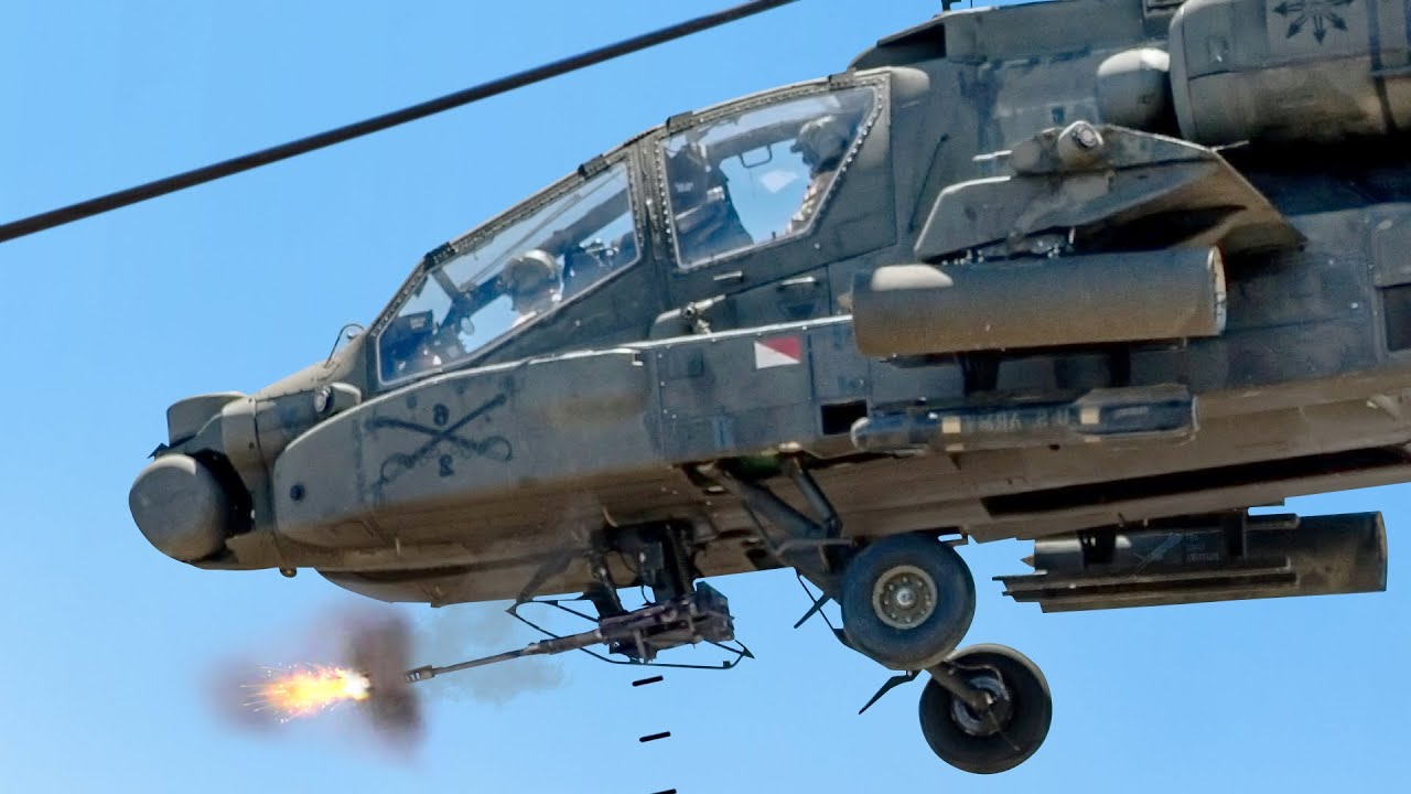 US Skilled AH-64 Pilot Unleash a Rain of 30mm Rounds Against Targets