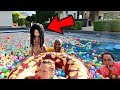 BALL PIT PRANK IN OUR SWIMMING POOL!!