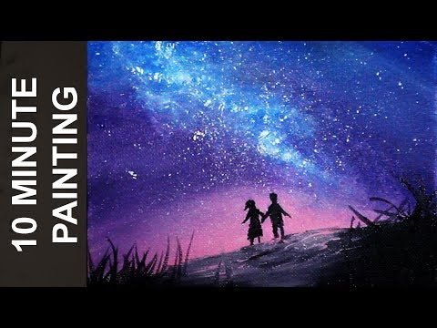 Painting People Looking Out at a Galaxy in a Night Sky with Acrylics in 10 Minutes!