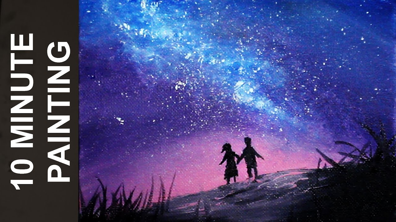 Painting People Looking Out At A Galaxy In A Night Sky