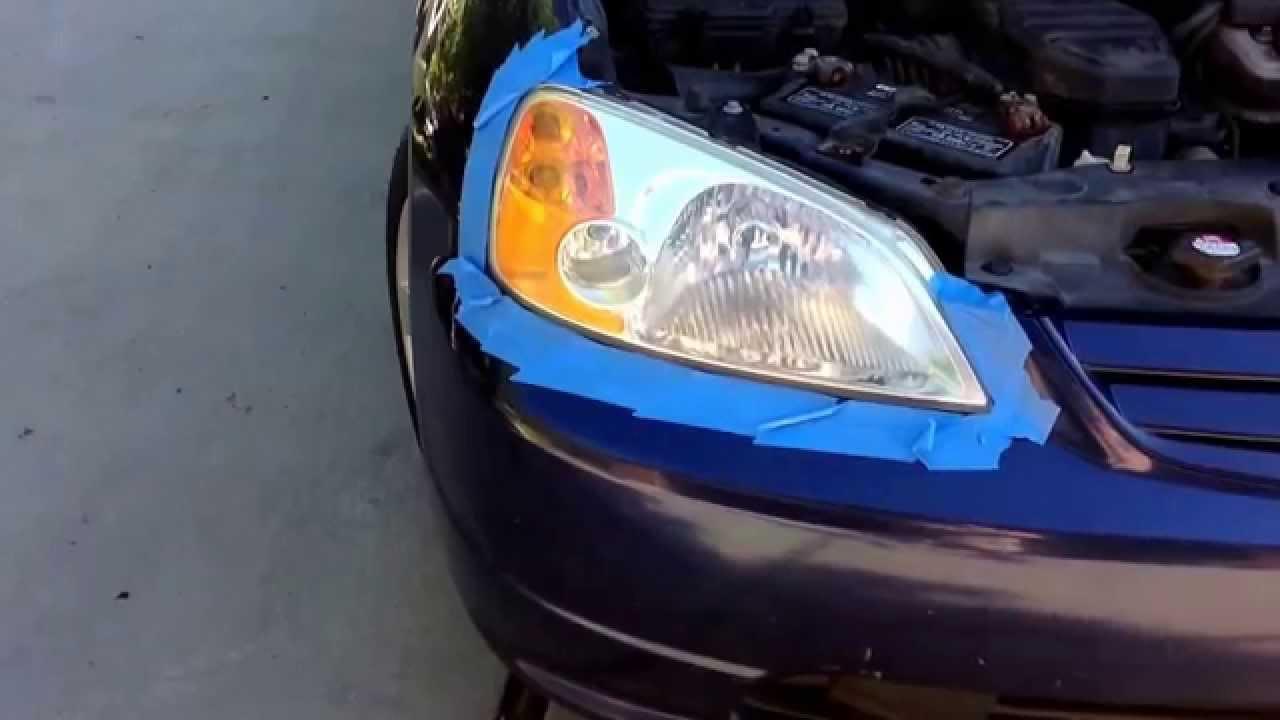 2002 Honda Civic Ex Repair 3 Fix Cloudy Headlight With Turtle Wax Saay Projects