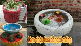Cách Làm Chậu Hoa Từ Xi Măng - Tik Tok China || Duong Khanh