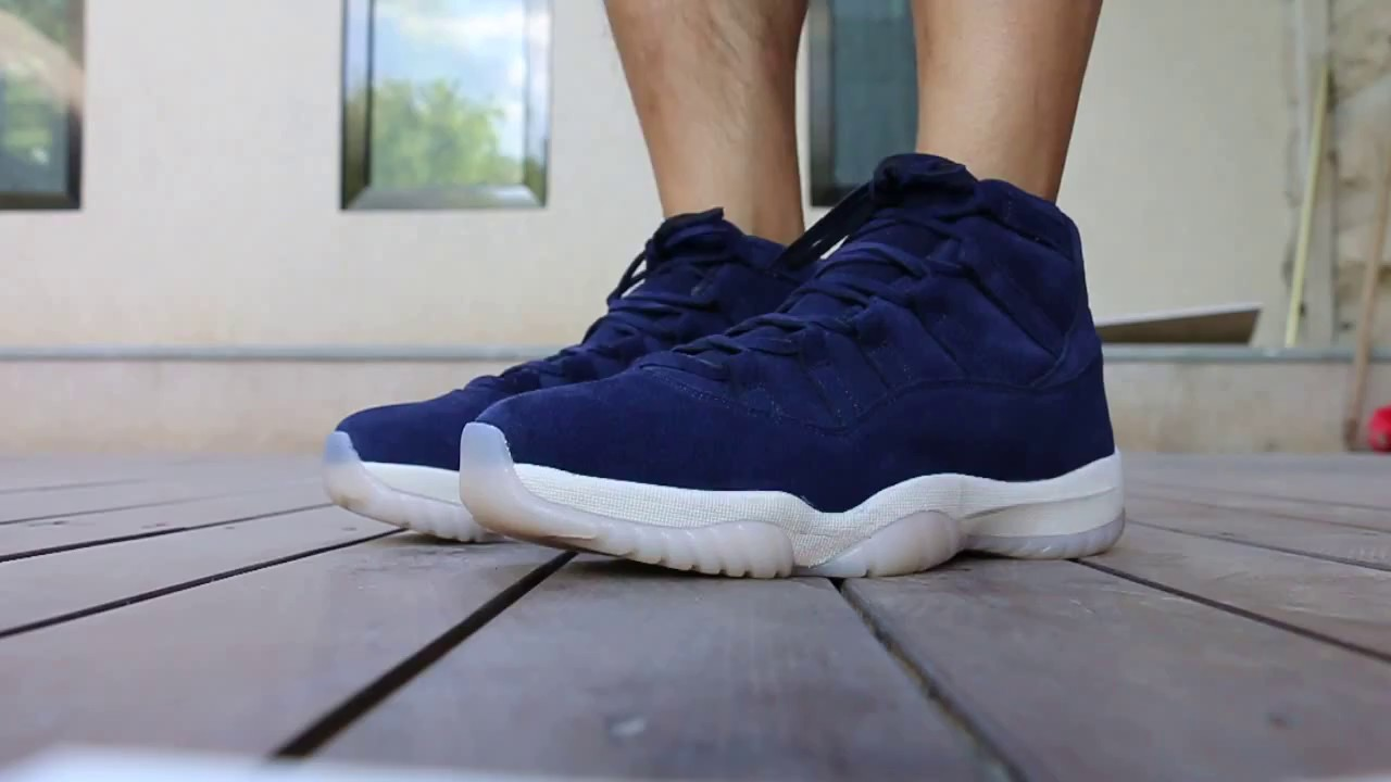 e12c99f3967 The Derek Jeter Air Jordan 11 Navy Suede On Feet Review - YouTube