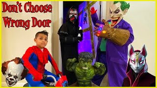 DON'T CHOOSE WRONG SPOOKY DOOR with SUPERHEROES | TOY PRIZES | DEION'S PLAYTIME