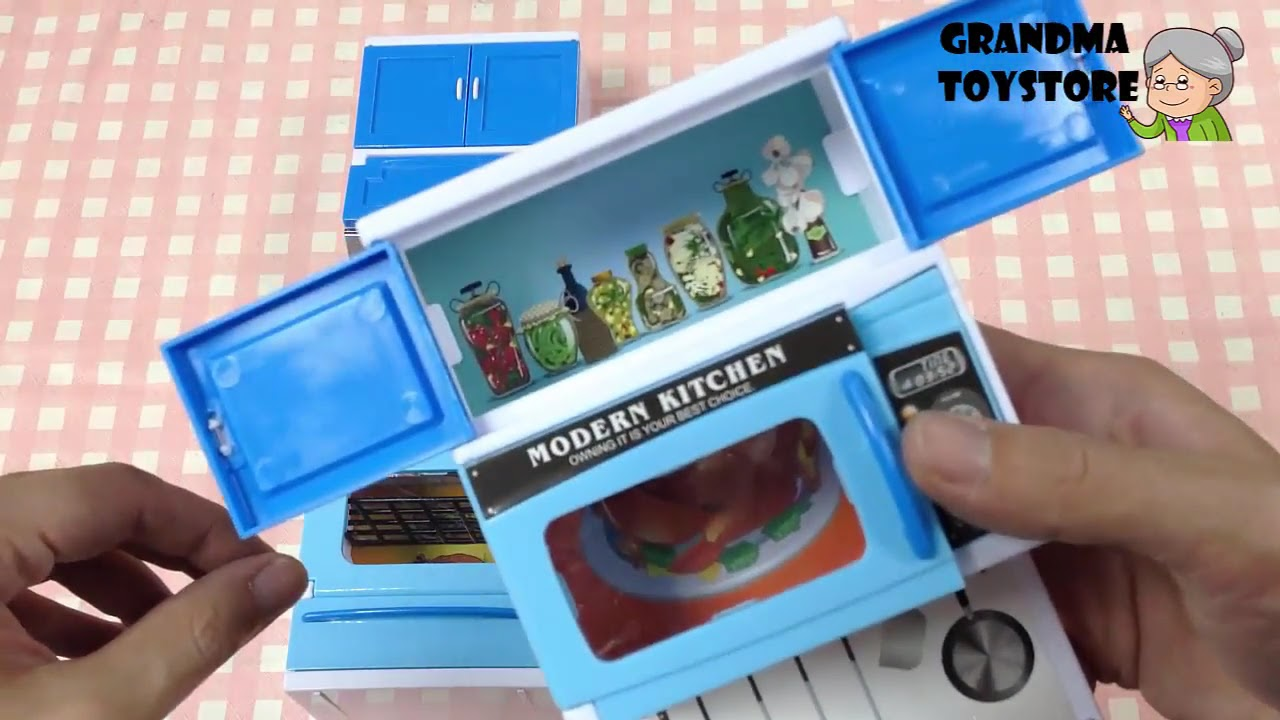 Miniature Dishwasher Unboxing Toys Review Demos Doll House Babyblue Kitchen Cooking