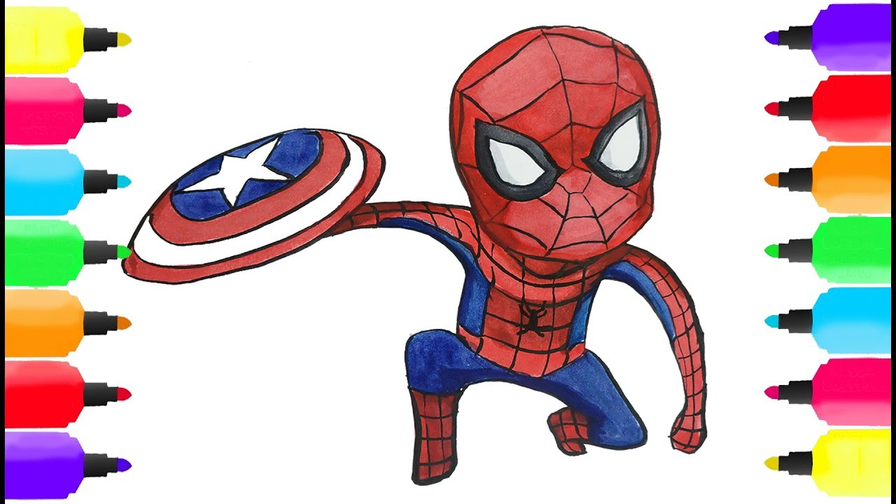 how to draw color spiderman captain america s shield coloring pages for kids learn drawing colors