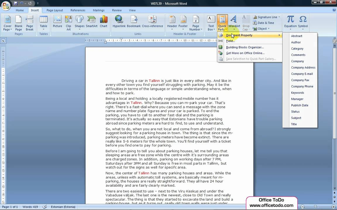 How to have Word automatically update certain fields of text? | Word 2007