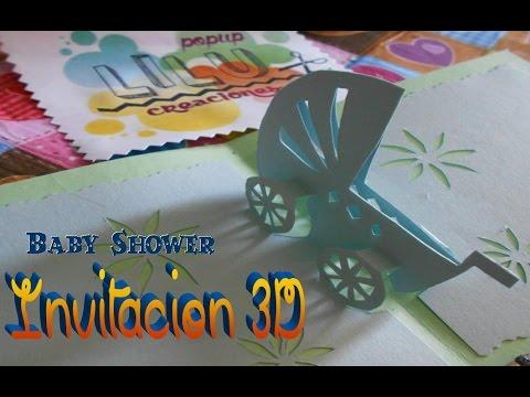 Invitación Baby Shower pop up 3D carreola, baby stroller