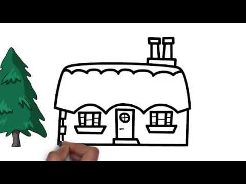 Very Easy How To Draw A Beautiful House And Tree Step By Step