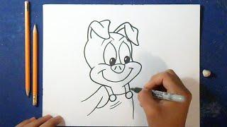 Cómo dibujar a Hampton Cerdito (Tiny Toons) | How to Draw Pig Hampton