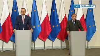 Konferencja prasowa premiera, ministra Mariusza Kamińskiego i komendanta policji Jarosława Szymczyka