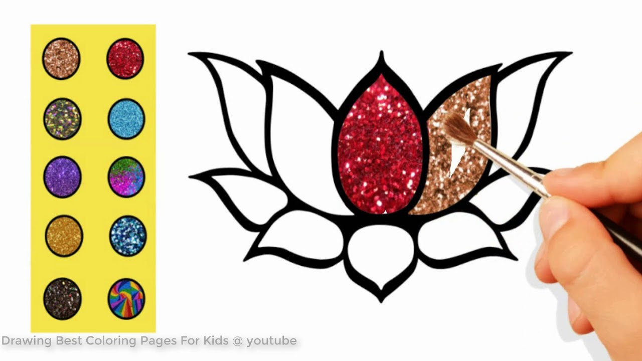 How to Draw Lotus Flower Coloring Page | Drawing Lotus Flower ...
