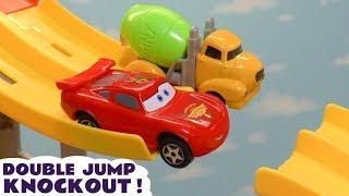 Cars 3 Hot Wheels Jump Knockout Race with DC Comics & Marvel Avengers 4 vs Autobots Bumblebee