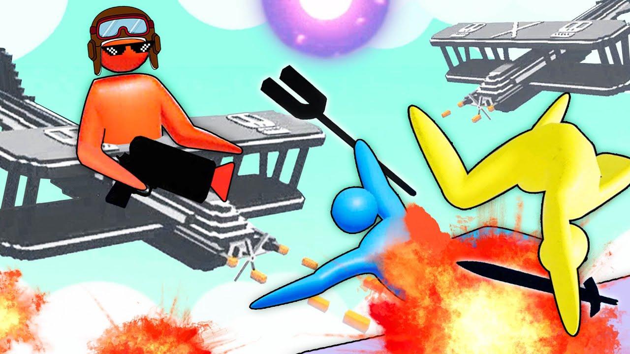 3D火柴人亂鬥 全新空戰!我是蜘蛛俠在飛機之間蕩秋千 屌德斯解說