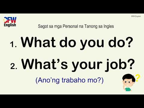 English Tagalog Answers To Common Questions