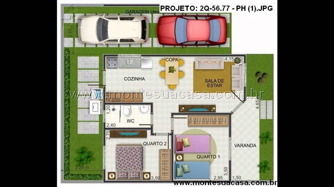 Projetos de casas de 2 quartos youtube for Jardins mangueiral planta 3 quartos