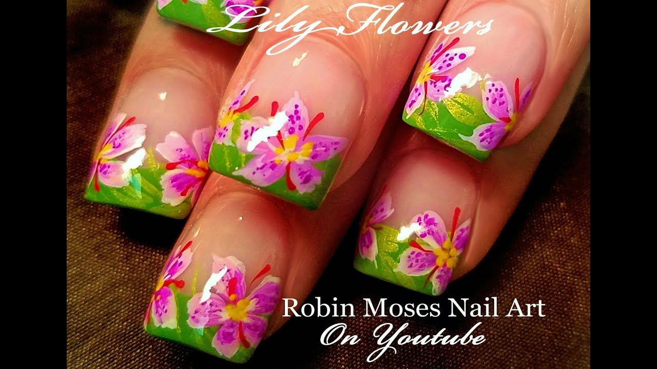 Diy lily flower nail art fun floral nails design tutorial youtube prinsesfo Gallery