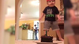Kid Blows out Candle with Soccer Ball