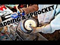 how to put a sprocket on a wheelbarrow wheel for mini bike/ go kart