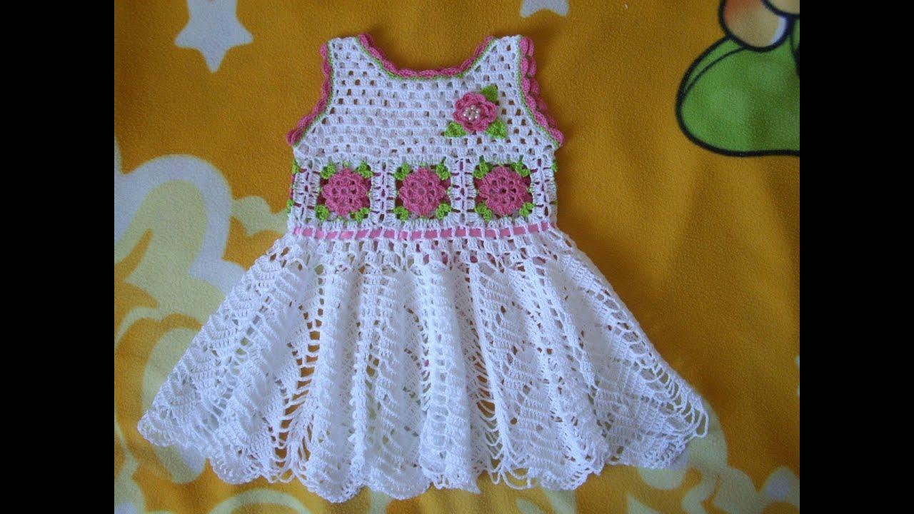 Vestido para niña tejidos a crochet parte 1 - YouTube
