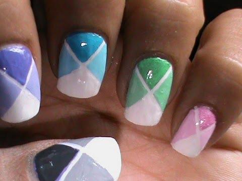 Color blocking nail design both long short nails youtube - Easy nail designs for short nails at home ...