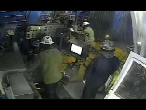 Blow out on oil rig during drilling