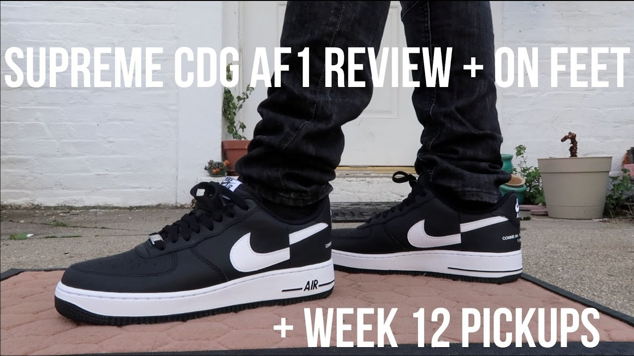 SUPREME CDG NIKE AF1 REVIEW + ON FEET & Week 12 Pickups! (Box Logo Beanie, Light, Knife)