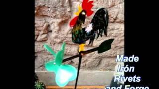 Maceteros Decoratión Weathervane Rooster  And Lucky Clover Veleta Gallito Y Trébol De La Suerte