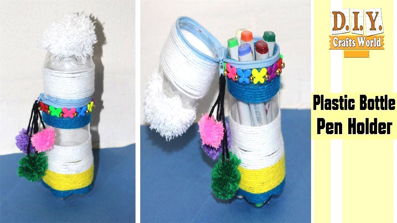 Recycle Plastic Bottles || Recycle Plastic Pen Holder Vase Making ... for Diy Plastic Bottle Pen Holder  29jwn