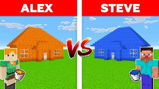 Minecraft - LAVA HOUSE vs WATER HOUSE / Alex vs Steve in Minecraft