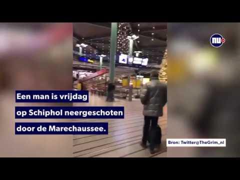 Marechaussee schiet man met mes neer op Schiphol