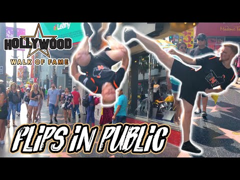 FLIPS IN PUBLIC! | HOLLYWOOD WALK OF FAME REACTIONS