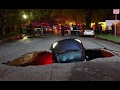 """Saturated roadways in CA swallow an *ENTIRE FIRE ENGINE*  and 2 cars drop in sinkholes   """"Madness"""""""